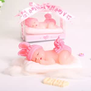 AIXIANG 2 Boxes Adorable Sleeping Baby Girl Style Baby Birthday Candle Christening Baby Shower Cake Topper Party Decoration