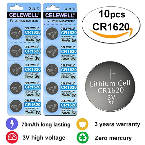 CR1620 3V Lithium Coin Cell Battery For Traker/3D Glasses 70 mAh 10 Pack CELEWELL Brand 3 Years Warranty (Cr1620 Lithium Coin Cell Batteries)