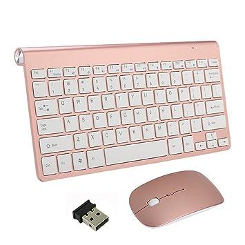 Teclado Inalámbrico y Mouse, EONHUAYU Teclados Inalámbricos Portátiles y Mouse Combo Ratón Ajustable DPI Completo
