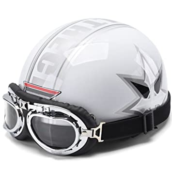 YUJIE Motocicleta Bicicleta Casco Gafas Casco Jet Estilo Retro,White2-OneSize: Amazon.es: Deportes y aire libre