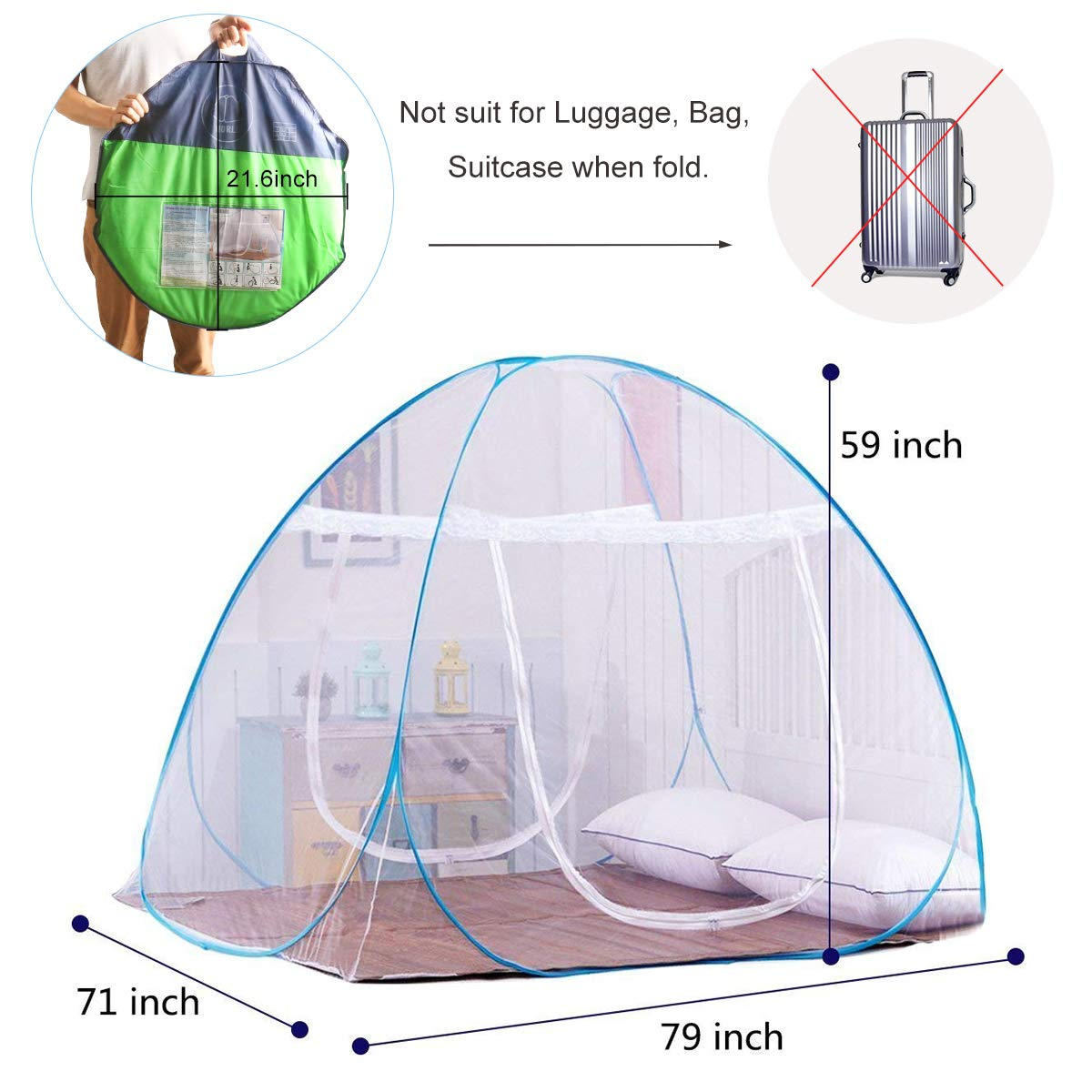 DaTong Pop-Up Mosquito Net Tent for Beds Anti Mosquito Bites Folding Design with Net Bottom for Babys Adults Trip 79 x71x59 inch