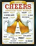 beer bar signs - Cheers Around The World Beer Tin Sign 13 x 16in