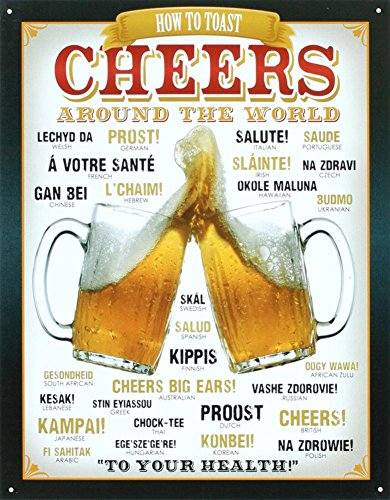 Cheers Around The World Beer Tin Sign 13 x 16in