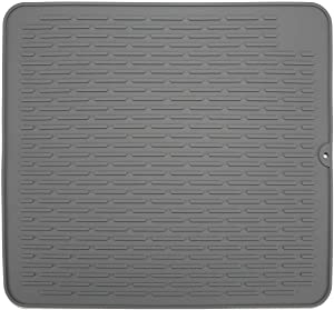 "Large 18"" x 16"" Silicone Dish Drying Mat,Heat Resistant Trivet ,Kitchen Sink Organizer, Countertop Protector, Easy Clean&Dish Washer Safe(Grey)"