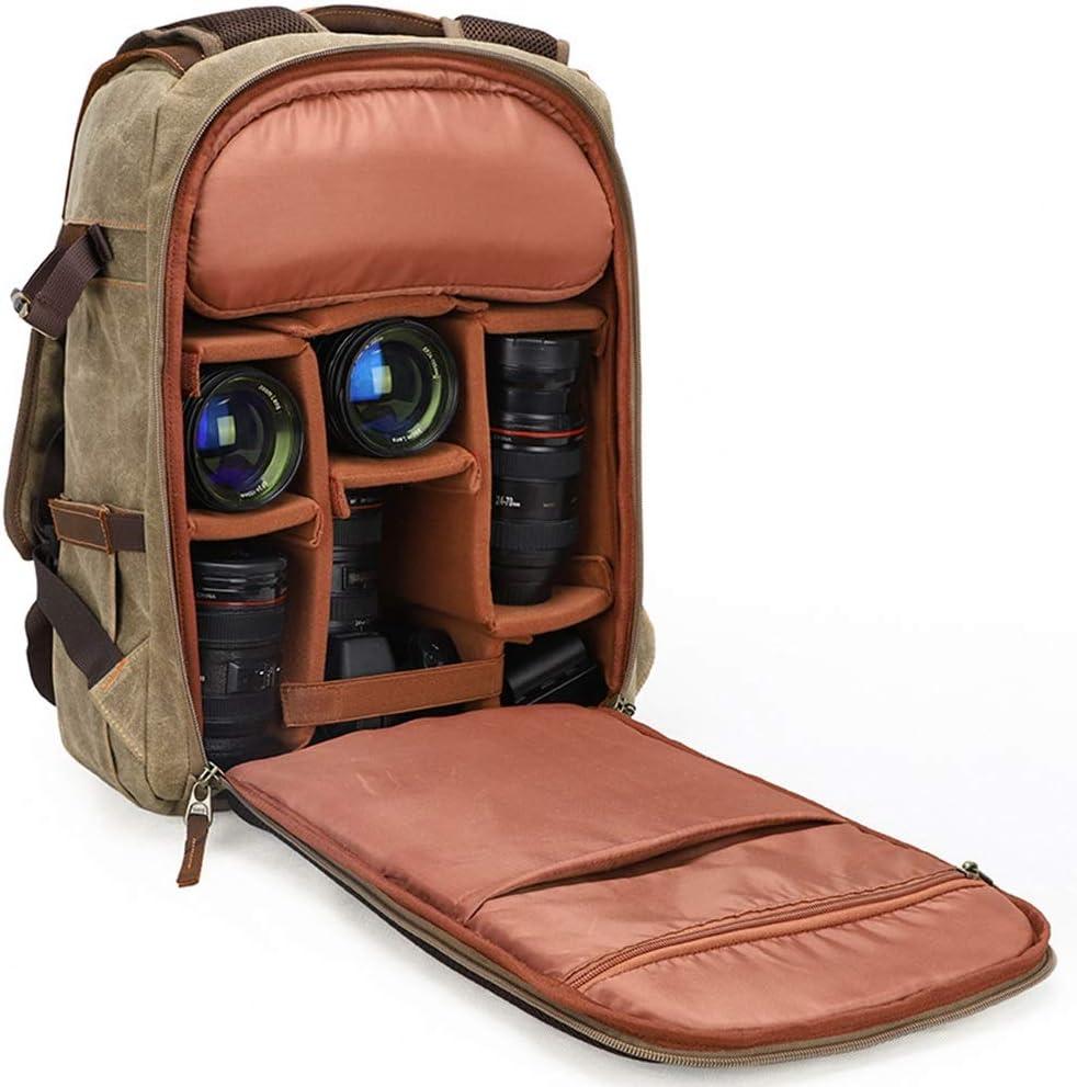 Color : Brown Reasonable Layout Fashion Nuanxingjiafang Photography Bag//Outdoor One Shoulder Digital Backpack//Large Capacity Canvas Camera Bag