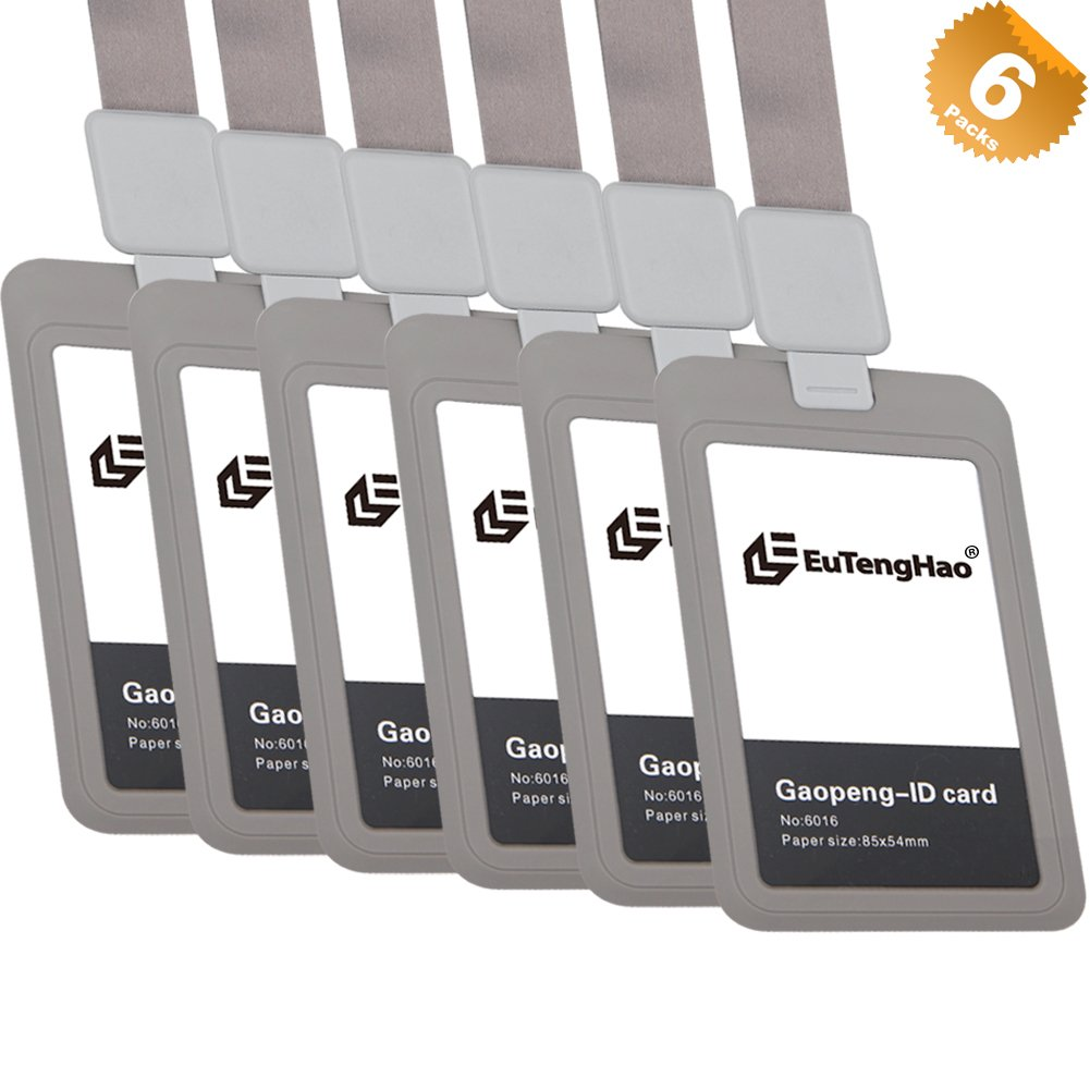 EuTengHao Retractable Vertical ID Card Badge Holder with Retractable Reel, Waterproof PP Plastic ID Card Holder for Employee Student Office School Bus ID Card (Grey 6 Pack)