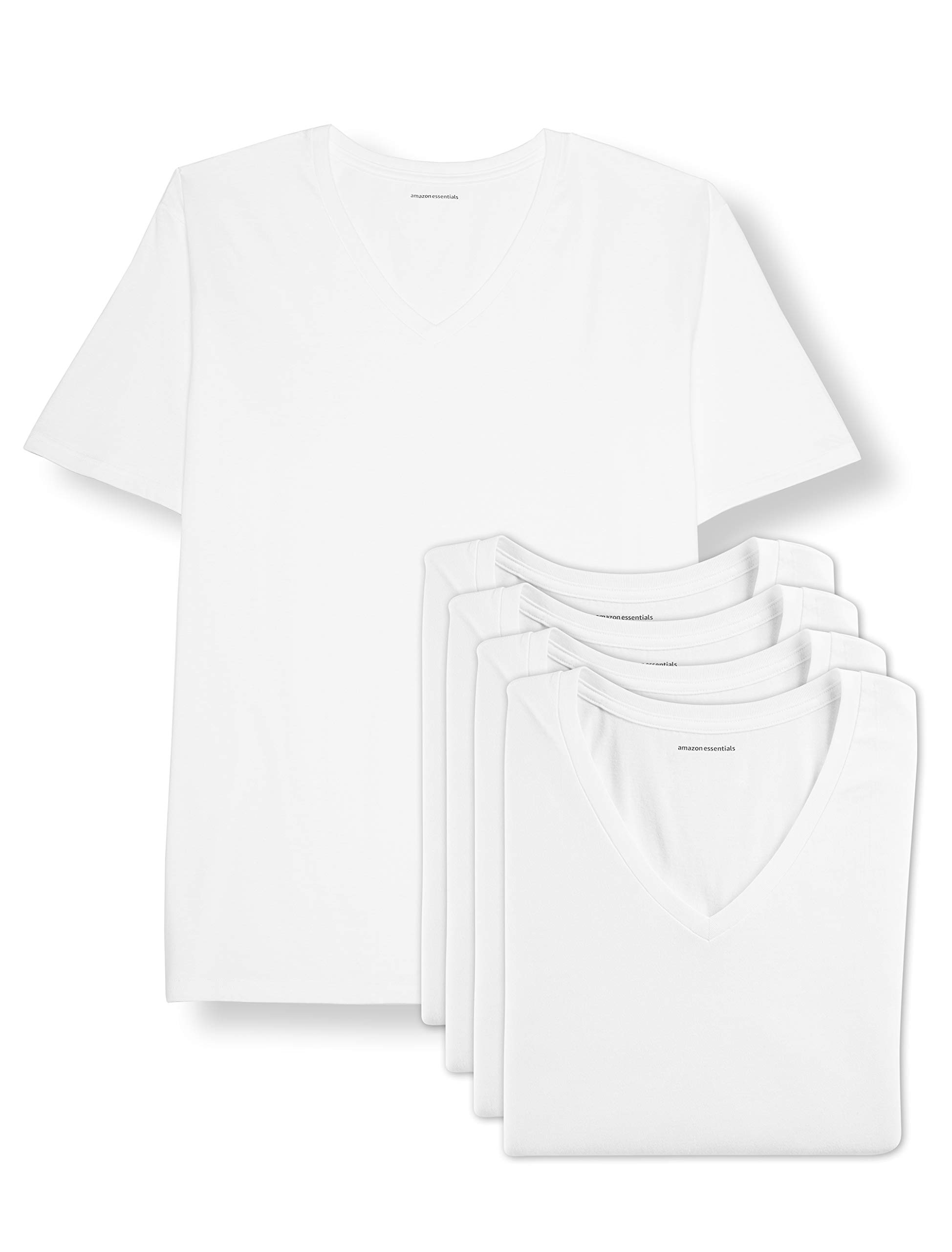 Amazon Essentials Men's Big & Tall 5-Pack V-Neck Undershirts Shirt, -White, 4XL