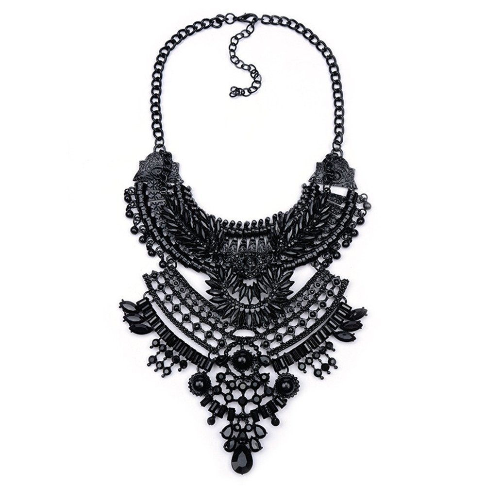 Santfe Vintage Silver Gold Long Boho Statement Necklace Trendy Bohemian Turkish for Women Accessories Jewelry (Black-10)