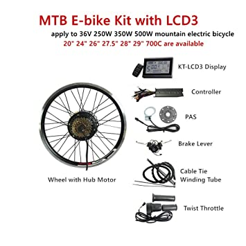 CSCbike MTB E-Bike Conversion Kit 36V 48V Mountain Electric Bicycle Rear  Wheel Conversion Parts with KT LCD3 Display Controller PAS Brake Lever
