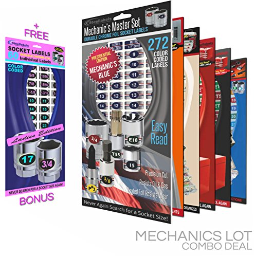 Steellabels Mechanics Lot Combo Pack includes Magnetic Toolbox Labels, Master Socket Label Sets, Circuit Breaker & Tackle Box Decal Sets, Universal Assembly Sets (blue series)