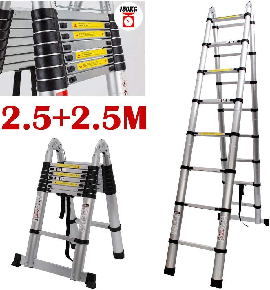 Escalera telescópica de aluminio multiusos de 5 m: Amazon.es: Bricolaje y herramientas