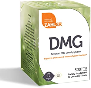 Zahler dmg 500mg, Advanced dmg N,n-dimethylglycine Supplement, All Natural Supplement that Supports ENDURANCE and IMMUNE System Function, Certified Kosher, 90 Chewable Tablets …