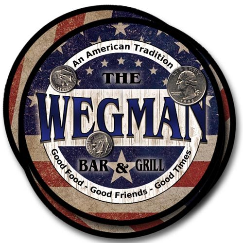 Wegman Family Bar and Grill Rubber Drink Coaster Set - Patriotic Design