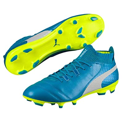 29299673e091 PUMA One 17.1 FG Men s Leather Soccer Cleats 104062-04 Blue White Yellow