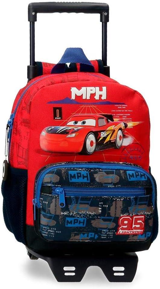 Disney Mochila Infantil Cars Rocket Racing con Carro, Multicolor, 23x28x10 cms