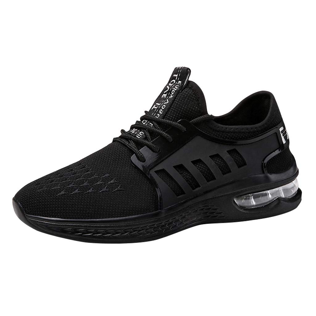 Lovygaga Fashion Men Casual Breathable Mesh Lightweight Air Cushion Bottom Sneakers Students Brief Wild Running Shoes Black