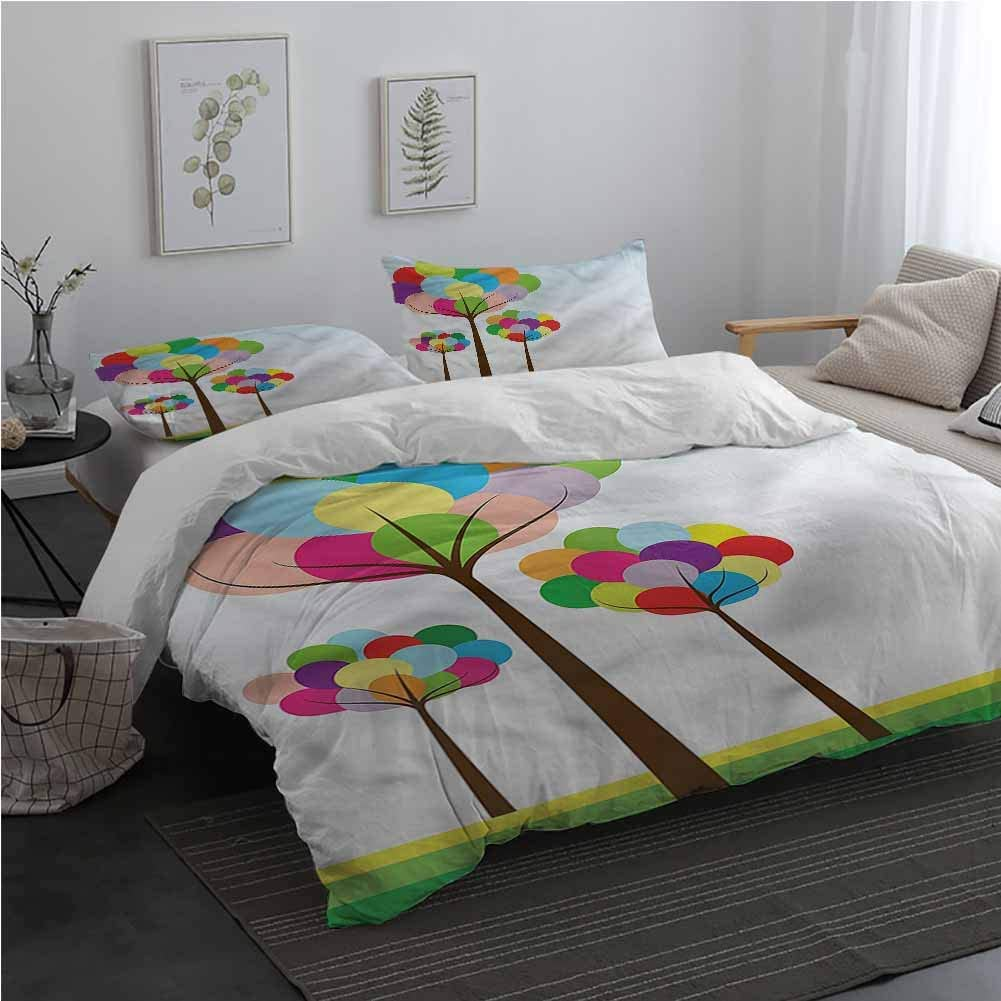 AndyTours Abstract Duvet Cover Set with Zipper Baloon Tree with Rainbow 100% Cotton Bedding Queen