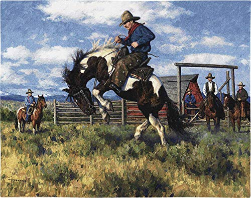 - Pure Country Weavers Rough Start | Woven Tapestry Wall Art Hanging | Western Cowboy Equestrian Taming Scene | 100% Cotton USA Size 34x26