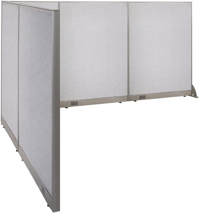 """GOF Freestanding L Shaped Office Partition, Large Fabric Room Divider Panel, 84""""D x 126""""W x 60""""H"""