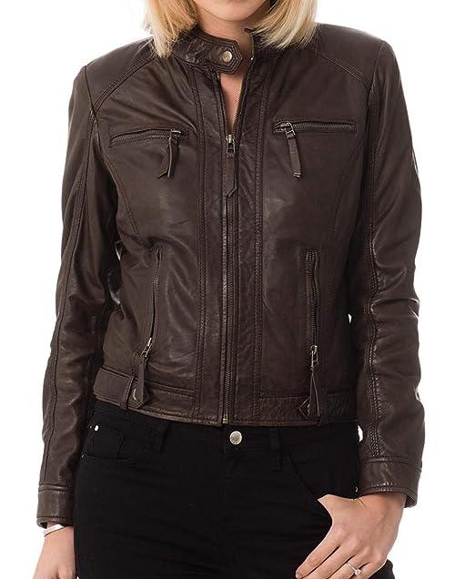 Amazon.com: Chaqueta de cuero para mujer, estilo de moda ...