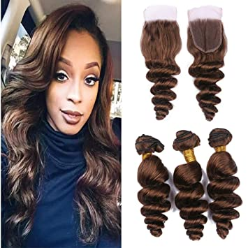 283bf156f6 Zara Hair Chocolate Brown Brazilian Hair Bundles with Closure Loose Wave  Wavy Color 4 Dark Honey