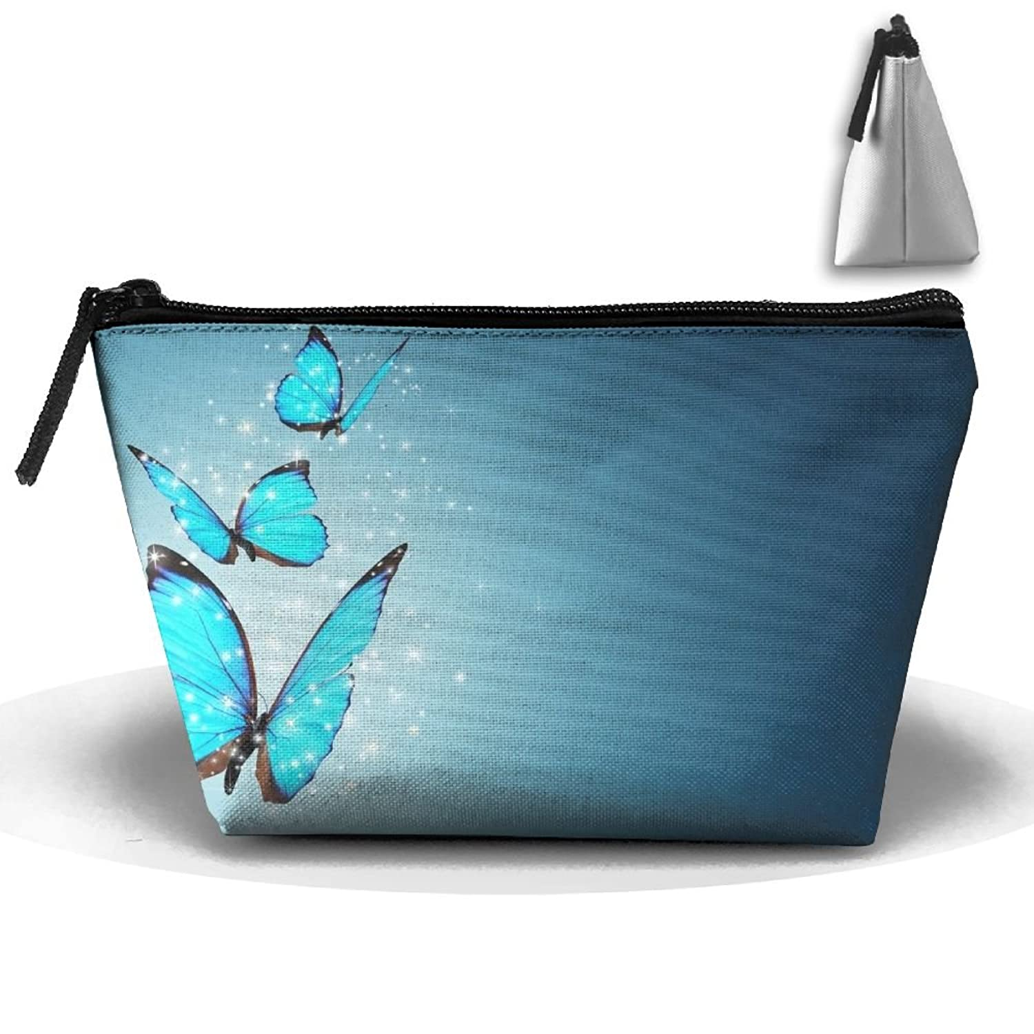Sky Blue Abstract Butterfly Multifunction Portable Pouch Trapezoidal Storage Toiletry Bag