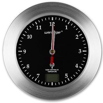 Baduhr   Wanduhr   Funk Uhr   Badezimmer Funkuhr Mit Farbauswahl (schwarz)