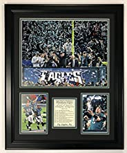 """Philadelphia Eagles Super Bowl 52 NFL Champions Collectible   Framed Photo Collage Wall Art Decor - 18""""x2"""