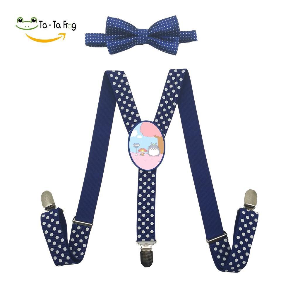 Xiacai Cartoon Dragon Cat Suspender/&Bow Tie Set Adjustable Clip-On Y-Suspender Kids