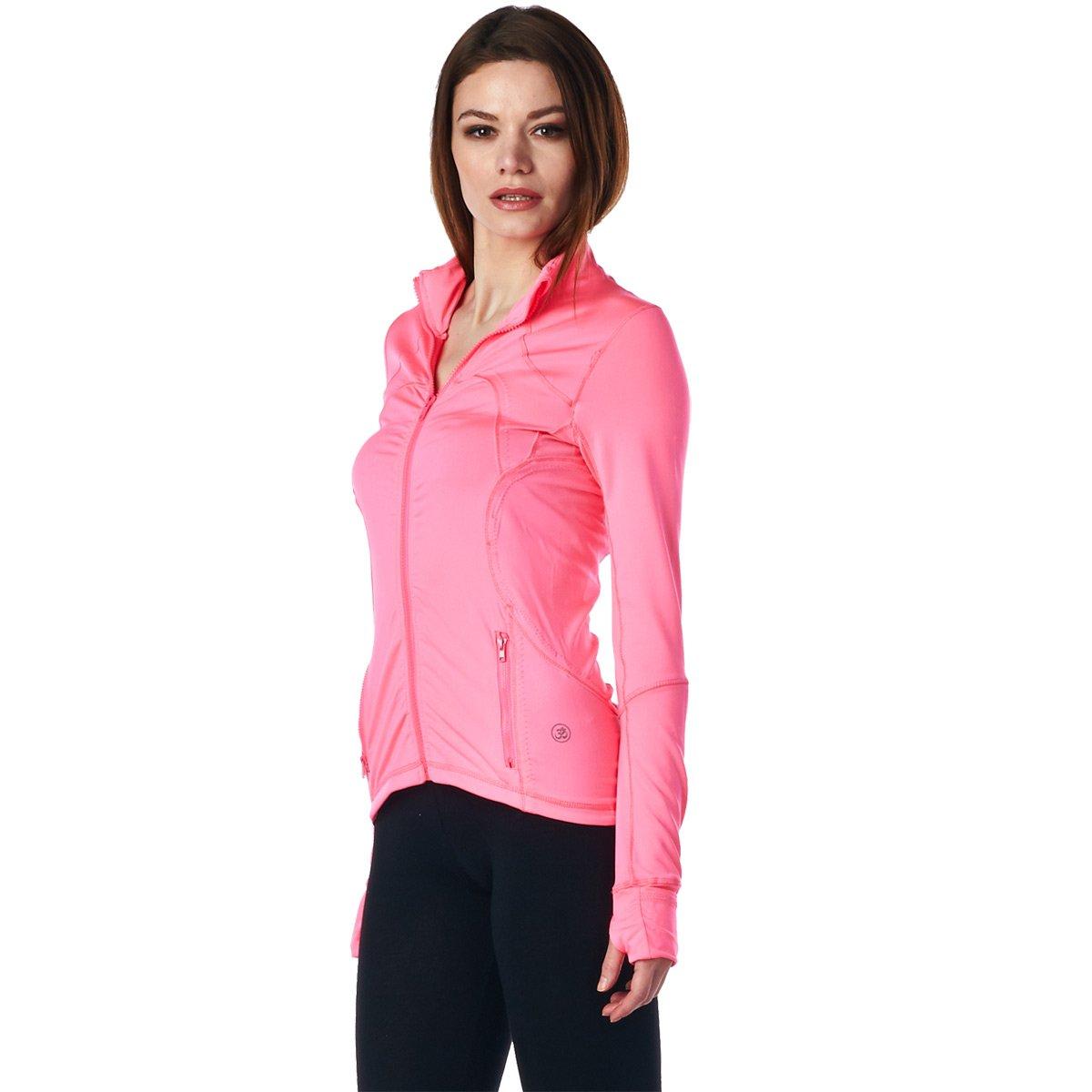 LA Society Womens Yoga Sport Fitness Jacket in Pink - Medium