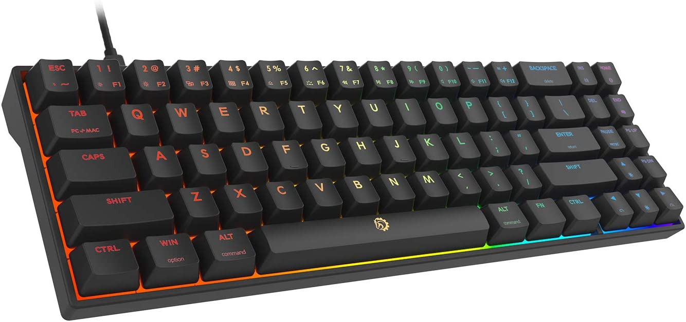 DREVO Calibur V2 Cherry MX Brown RGB 60/% Wired Mechanical Gaming Keyboar Work for PC//Mac 71-Key Small Compact US Layout Black