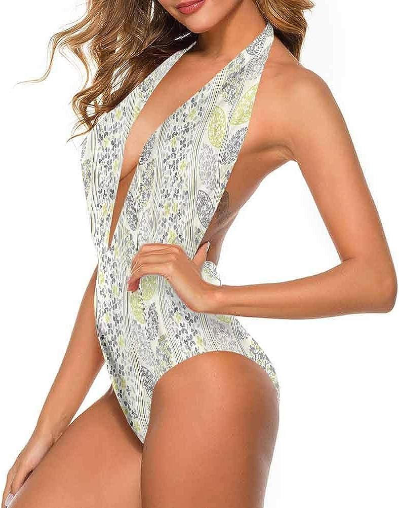 Bikini Gris et Blanc, Cercles excentriques Très Mignon et Lanières Multi 16