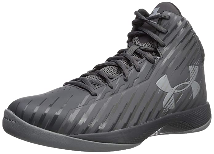 Under Armour Men's Jet Mid Basketball Shoe, Black/Steel/White, Medium