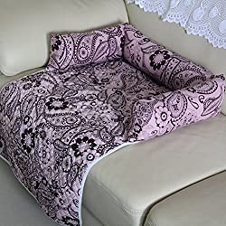 Pet Couch Flower Print Bed Cushion Sofa Chair Cover Blanket Reversible Couch Furniture Protector Soft Cozy Comfortable Dog Puppy Cat Mat House (XL, Pink)