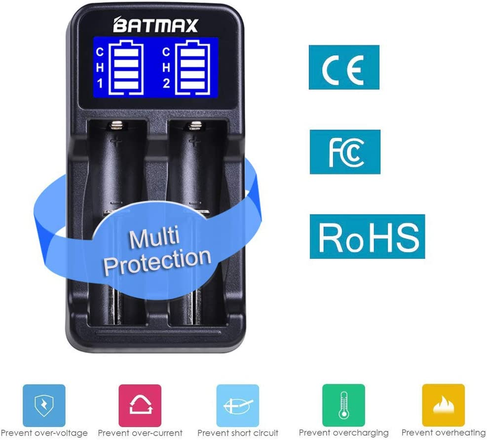 Batmax LCD Universal Intelligent USB Dual Battery Charger for Li-ion/Ni-MH/Ni-Cd 18650 18490 18350 17670 17500 16340(RCR123) 14500 A AA AAA AAAA Rechargeable Batteries: Home Audio & Theater