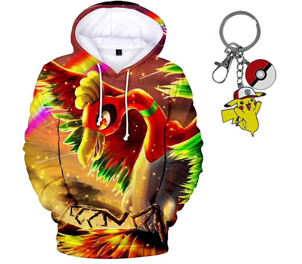 23Vision Unisex 3D Print Pokemon Hoodies Women Men Pullover Sweatshirt with Free Pikachu Keychain