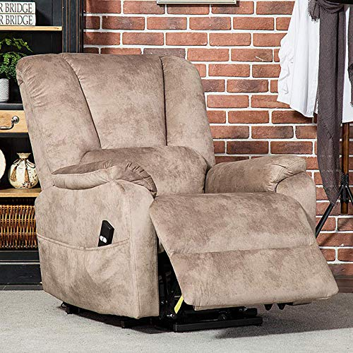(CANMOV Power Lift Recliner Chair for Elderly- Heavy Duty and Safety Motion Reclining Mechanism-Antiskid Fabric Sofa Living Room Chair with Overstuffed Design, Camel)