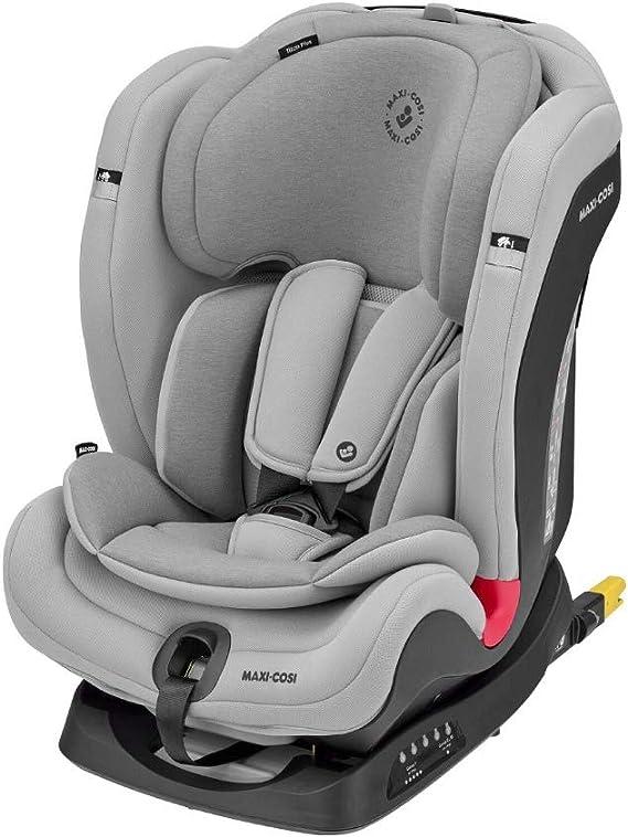 Maxi-Cosi Titan Plus Seggiolino Auto Isofix 9-36 Kg Reclinabile, per Bambini 9 Mesi -12 Anni, Gruppo 1 2 3, Regolazione Automatica Temperatura Seggiolino, Grigio Chiaro