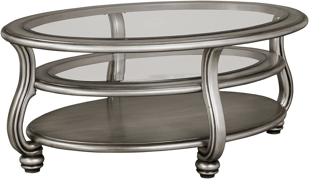 Signature Design by Ashley - Coralayne Glam Coffee Table, Silver