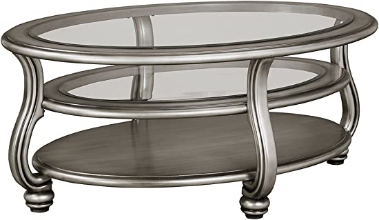 Signature Design by Ashley – Coralayne Glam Coffee Table, Silver