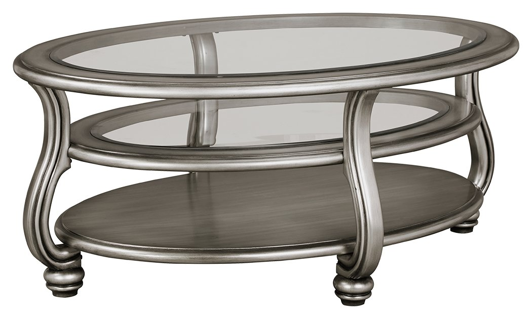 Ashley Furniture Signature Design - Coralayne Coffee Table - Stylish Ocassional Cocktail Table - Silver Finish