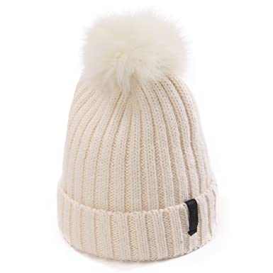 Siggi Beanie Pom Pom Hat Ladies Fur Bobble Hat Warm Wool Winter Hat for Womens  Girls 173a3378e748