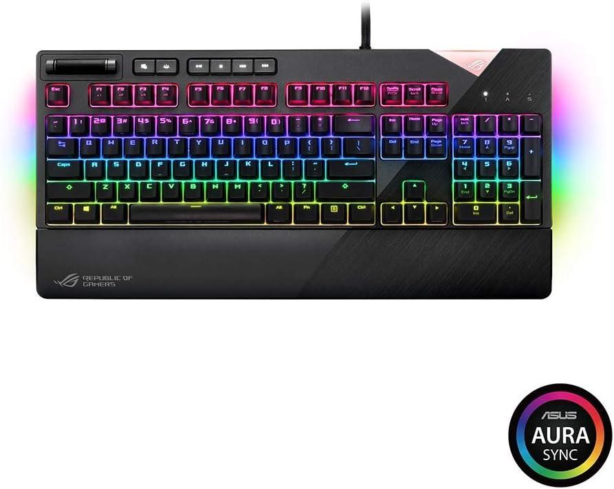 ASUS ROG Strix Llamarada RGB Teclado para Juegos mecánicos Cereza MX Brown con USB Pase a través, UnderGlow y Aura Sync (Reino Unido Layout)