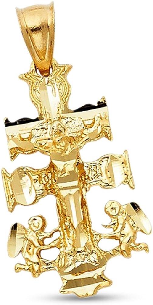 14k Gold Polished Cross Pendant 1.1 in x 0.67 in