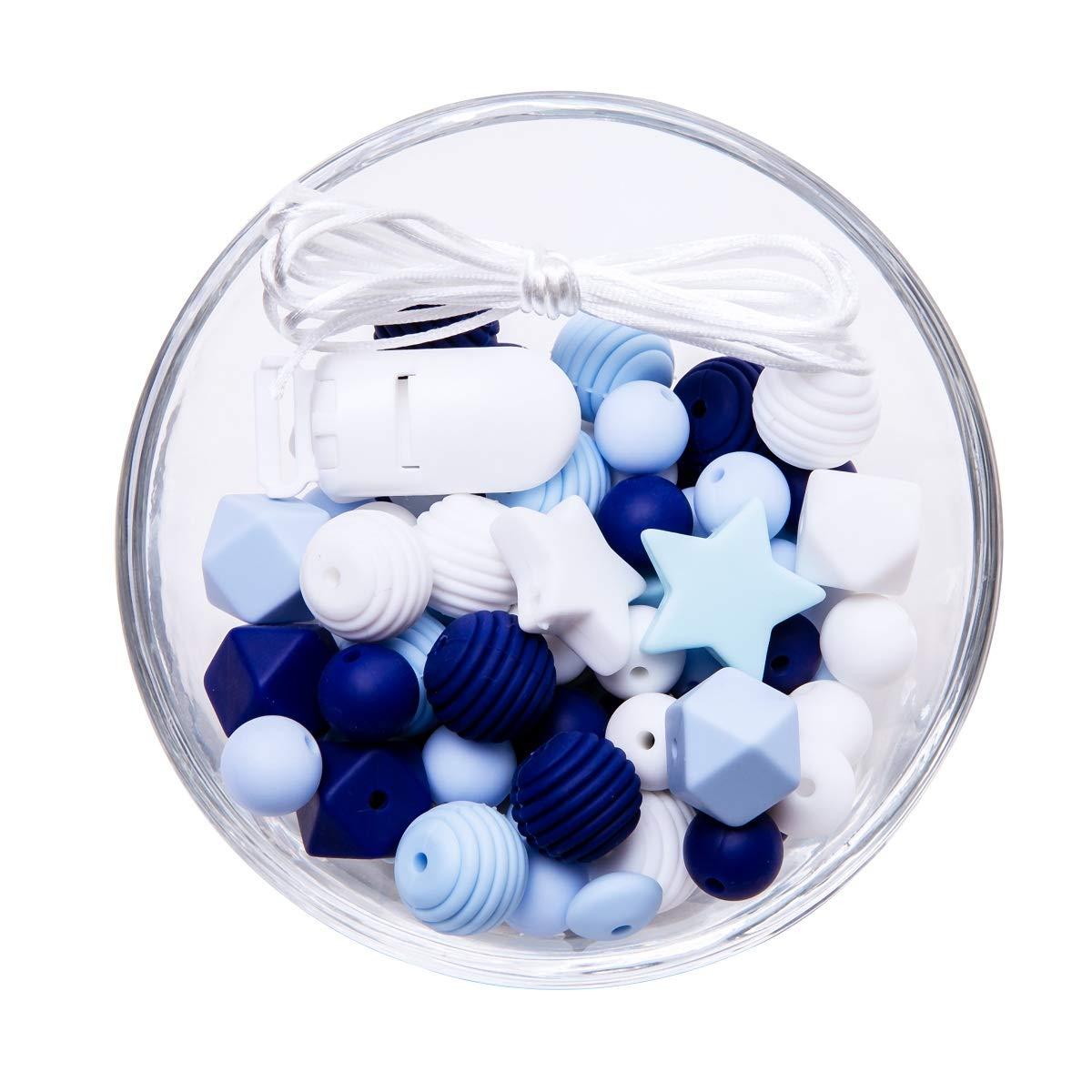 Promise Babe Silikon Bei/ßring Perlen DIY Set Die am Besten Geeignete Kinderkrankheiten Spielzeug Dusche Geschenk W/ährend Baby Kinderkrankheiten Graue Serie