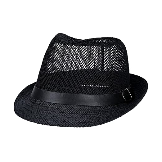 Unisex Panama Straw Hat Summer Fedora Beach Sun Mesh Hats Mens Dress ... e6ced0343d0