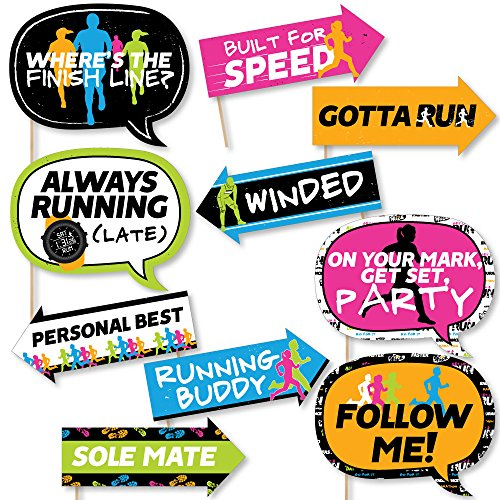 Funny Set The Pace - Running - Track, Cross Country or Marathon Party Photo Booth Props Kit - 10 Piece
