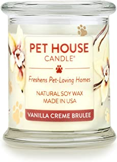 product image for One Fur All 100% Natural Soy Wax Candle, 20 Fragrances - Pet Odor Eliminator, Up to 60 Hours Burn Time, Non-Toxic, Reusable Glass Jar Scented Candles – Pet House Candle, Vanilla Creme Brulee