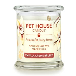 One Fur All 100% Natural Soy Wax Candle, 20 Fragrances - Pet Odor Eliminator, Up To 60 Hours Burn Time, Non-toxic, Reusable Glass Jar Scented Candles – Pet House Candle, Vanilla Creme Brulee