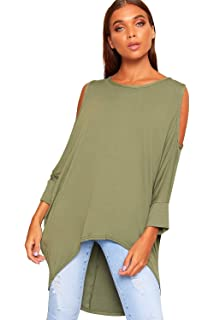 34c74fff61 WearAll Women s Baggy Batwing Cold Shoulder Hi Lo Dipped Hem Oversized Top  Ladies Plain ...